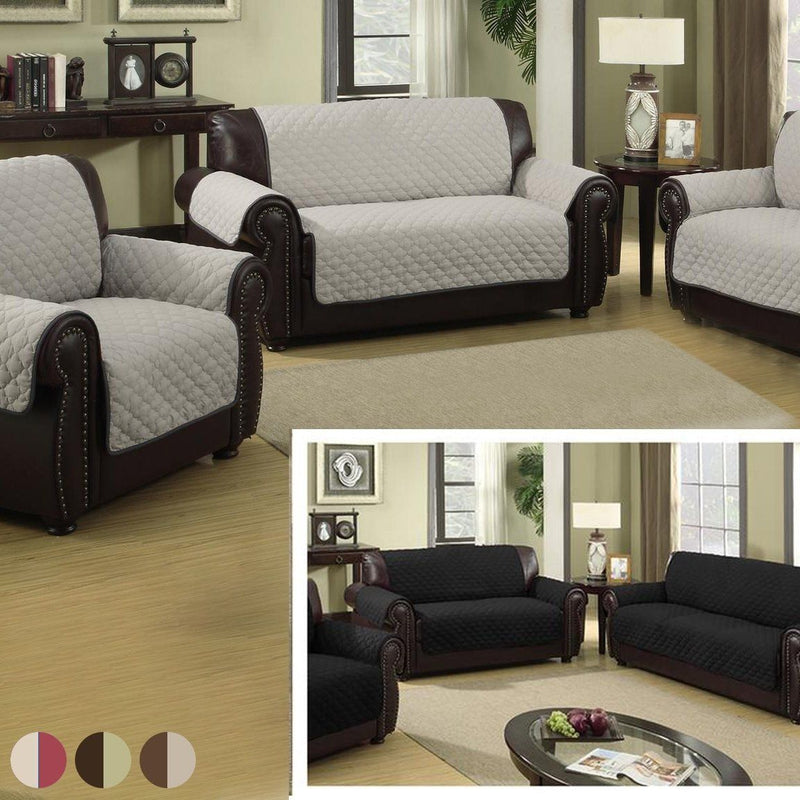 Waterproof Quilted Reversible Furniture Slipcover for Chair, Loveseat, Or Sofa - Assorted Colors Home Essentials Chair Black/Silver - DailySale