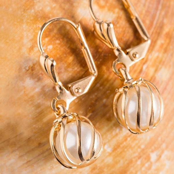 White Cultured Pearl Cage Drop Earrings by Sevil Jewelry - DailySale