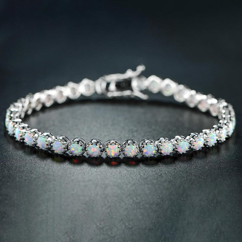 White Fire Opal Tennis Bracelet Jewelry - DailySale