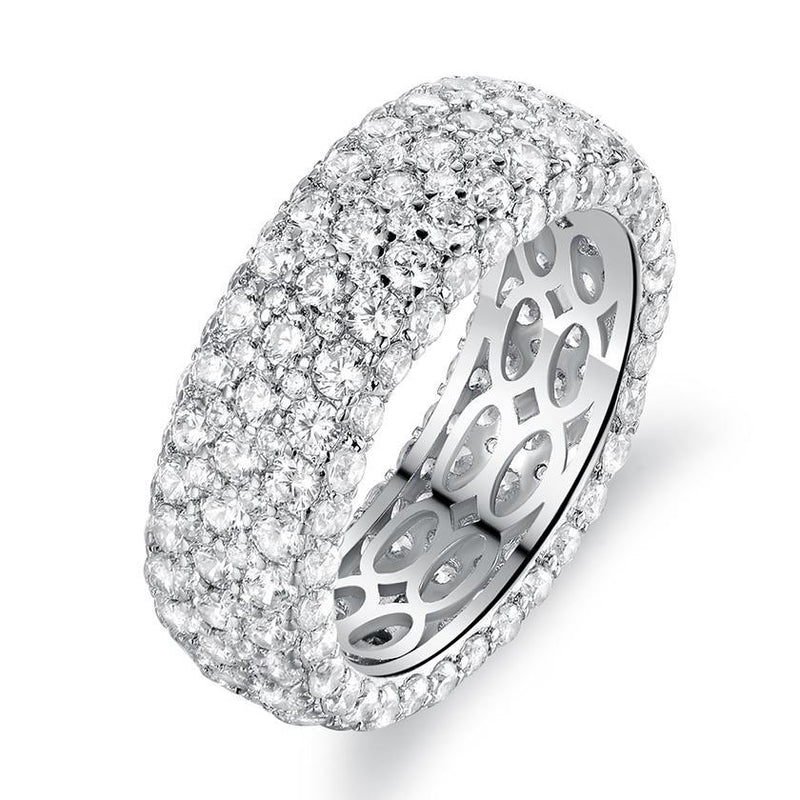 White Gold Plated Five Row Eternity Ring - Assorted Sizes Jewelry 7 - DailySale