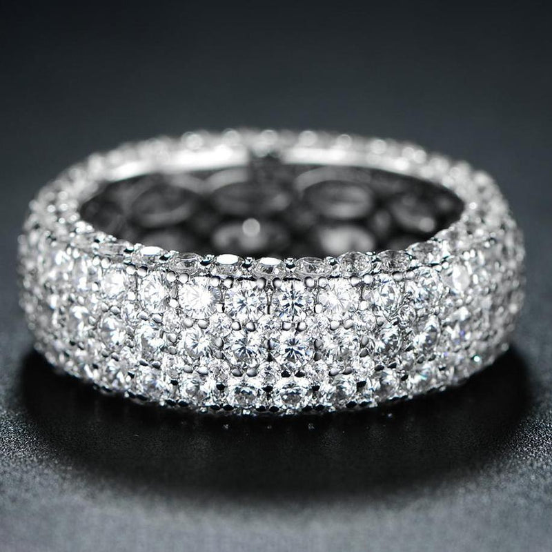 White Gold Plated Five Row Eternity Ring - Assorted Sizes Jewelry - DailySale