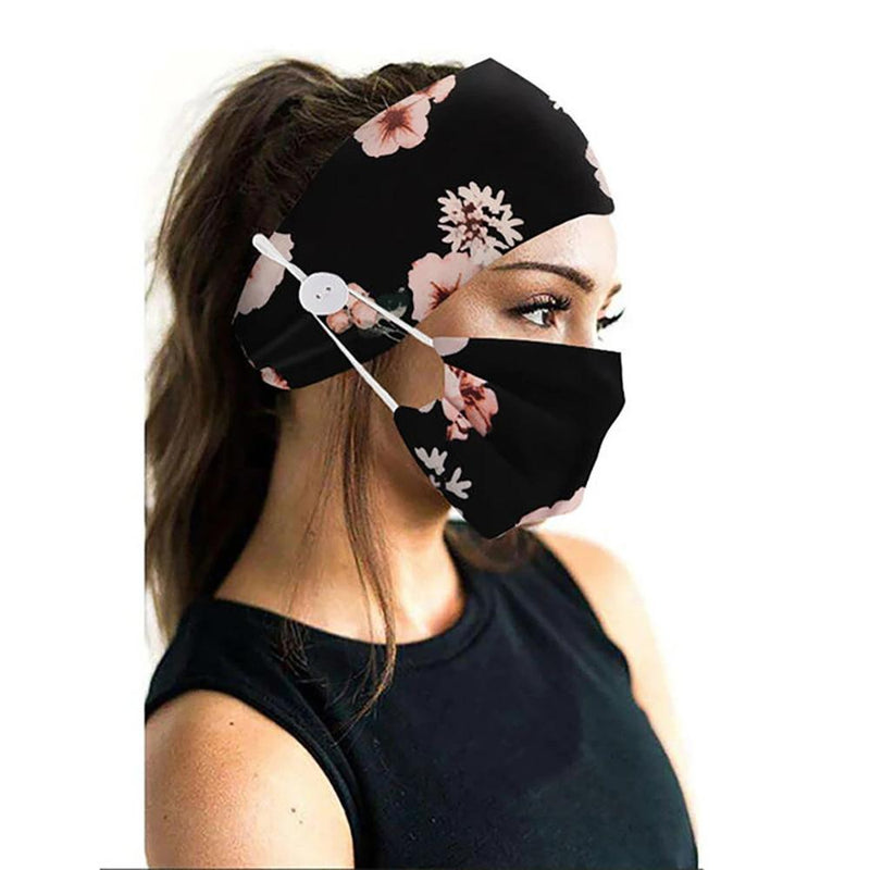 Wide Buttoned Elastic Headband with Matching Face Mask Face Masks & PPE Black Floral - DailySale