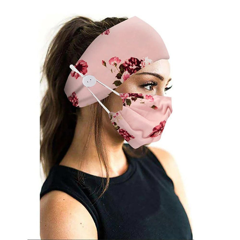 Wide Buttoned Elastic Headband with Matching Face Mask Face Masks & PPE Pink Floral - DailySale