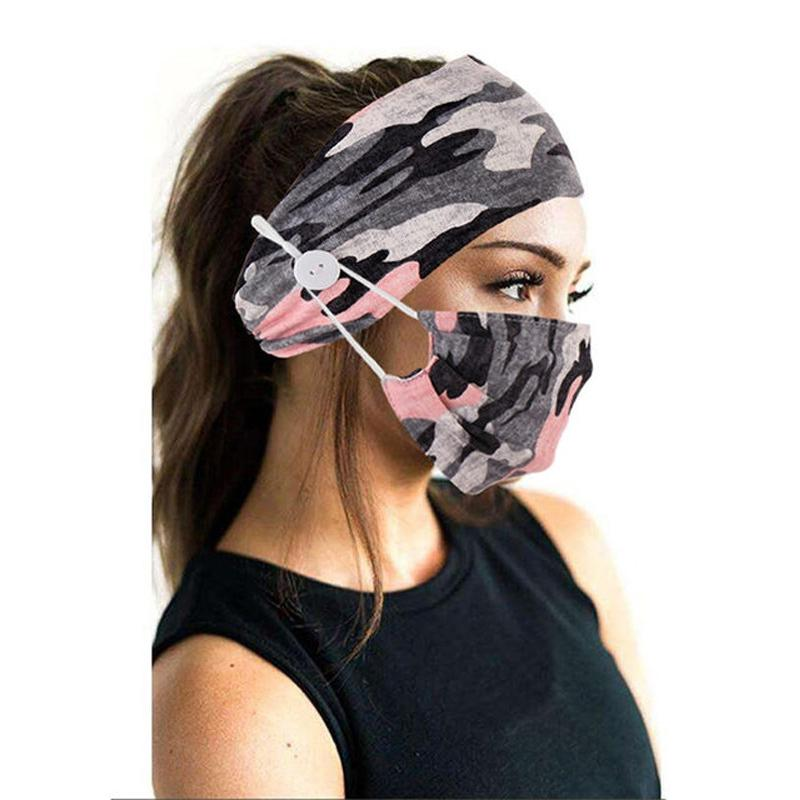 Wide Buttoned Elastic Headband with Matching Face Mask Face Masks & PPE Powder Pink Camo - DailySale