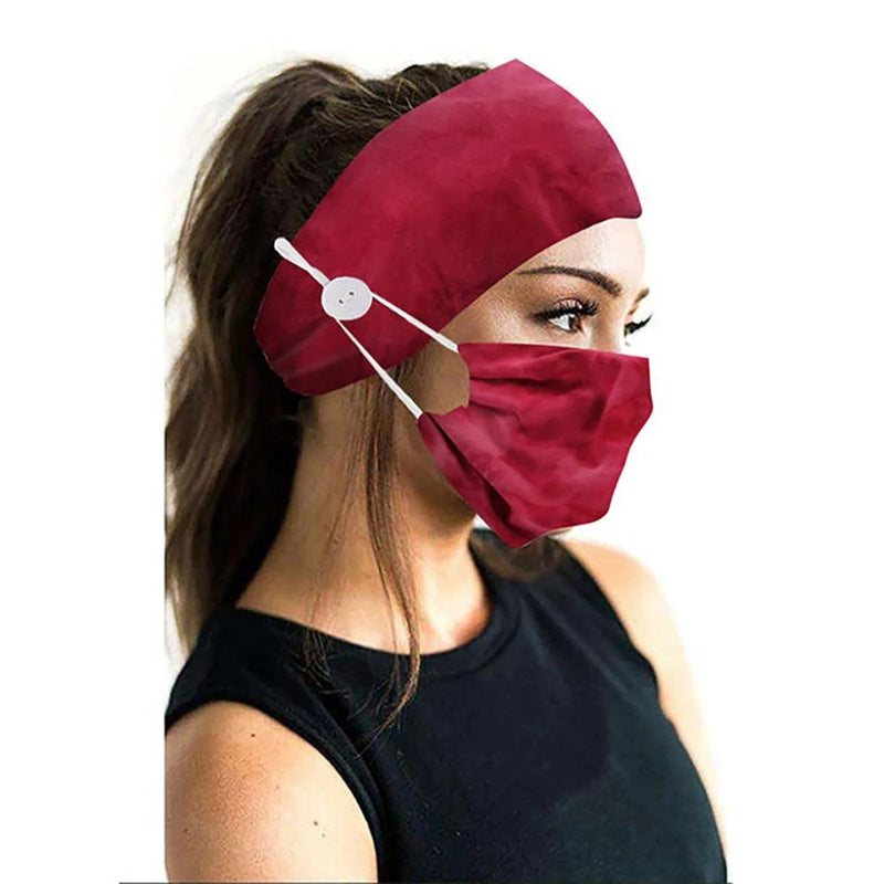 Wide Buttoned Elastic Headband with Matching Face Mask Face Masks & PPE Red TieDye - DailySale