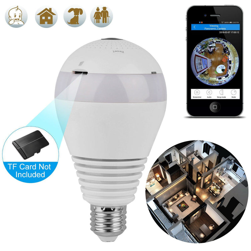 WiFi Light Bulb Camera 960P Security Camera 360° Camera, TV & Video - DailySale