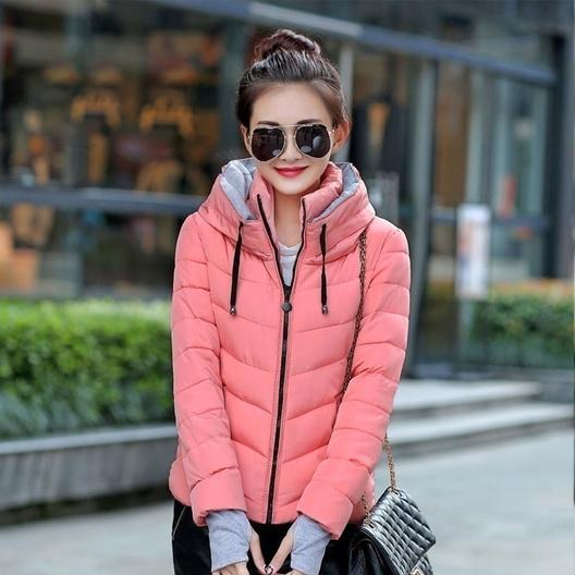 Winter Jacket Women Parka Thick Winter Outerwear Women's Clothing Pink M - DailySale