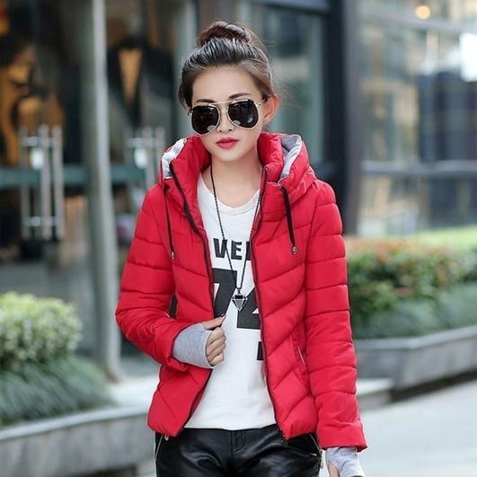 Winter Jacket Women Parka Thick Winter Outerwear Women's Clothing Red M - DailySale