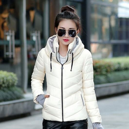 Winter Jacket Women Parka Thick Winter Outerwear Women's Clothing White M - DailySale