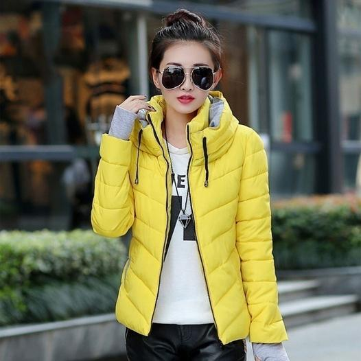 Winter Jacket Women Parka Thick Winter Outerwear Women's Clothing Yellow M - DailySale