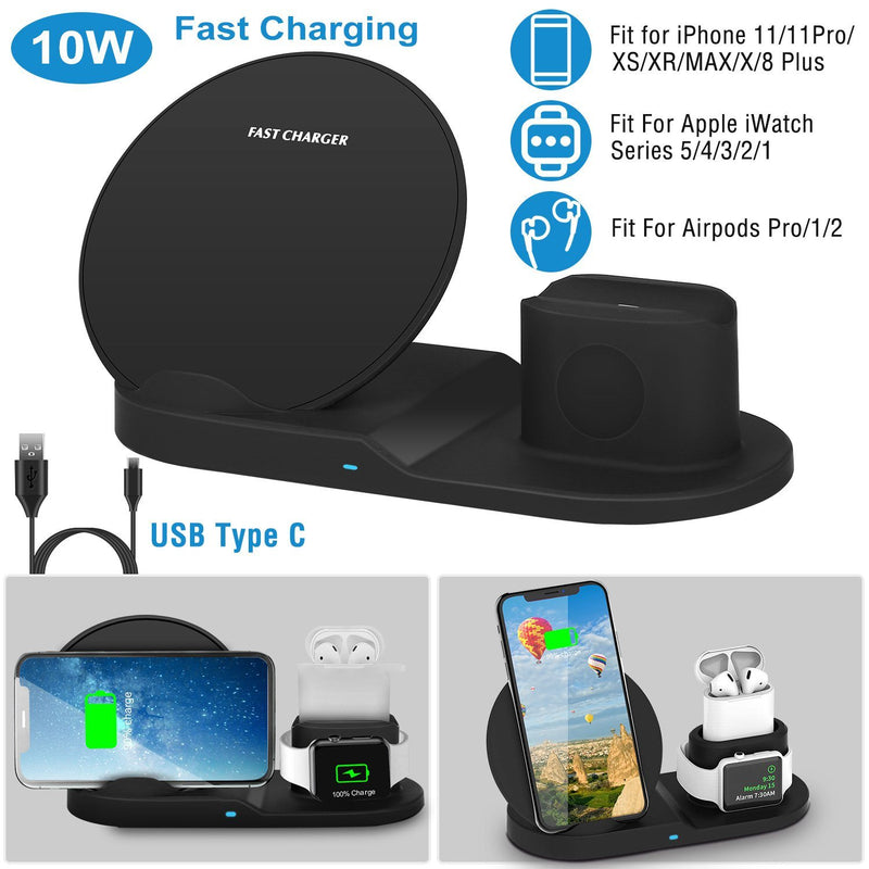 Wireless Charger 10W Fast Charging Station Mobile Accessories - DailySale