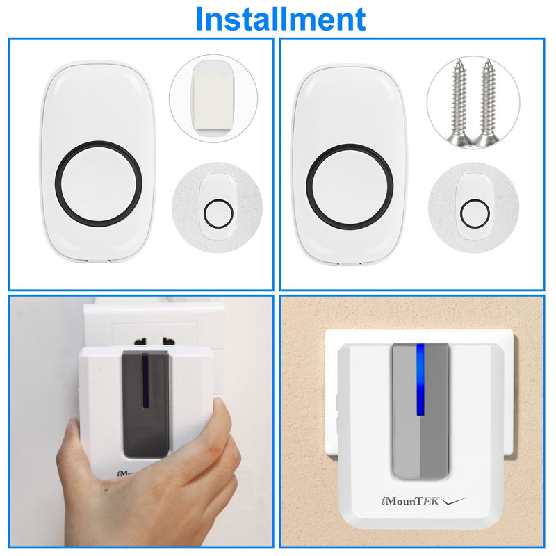 Wireless Doorbell Rings 1000FT with 1 Plug Receiver Chimes Household Appliances - DailySale