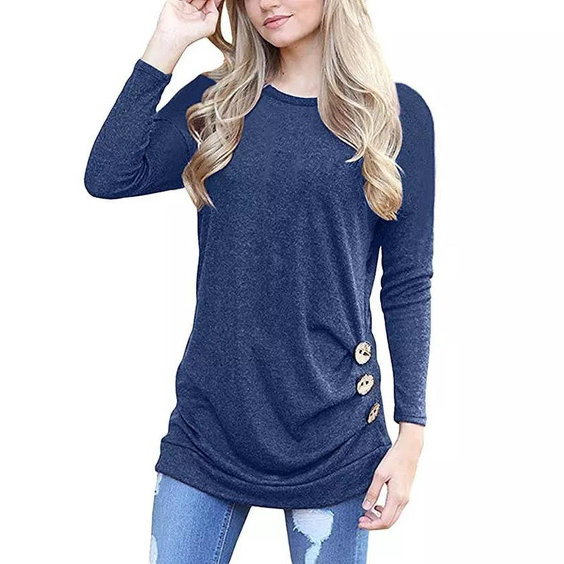 Women Elegant Long Sleeve Round Neck Loose Blouse Tops Women's Clothing Blue S - DailySale