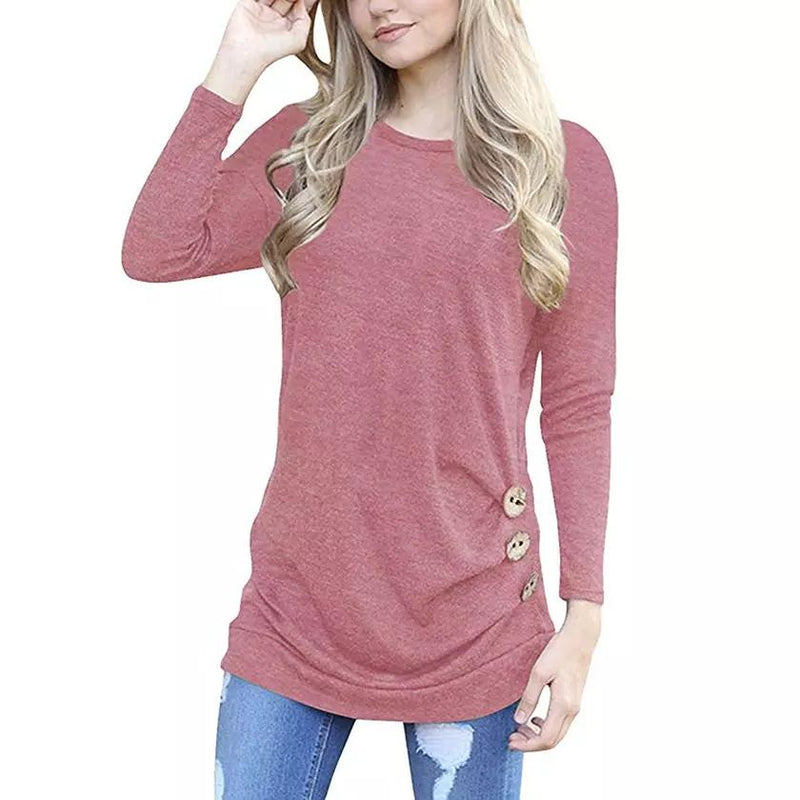 Women Elegant Long Sleeve Round Neck Loose Blouse Tops Women's Clothing Pink S - DailySale