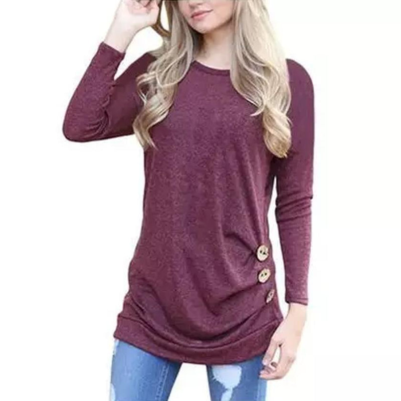 Women Elegant Long Sleeve Round Neck Loose Blouse Tops Women's Clothing Red S - DailySale
