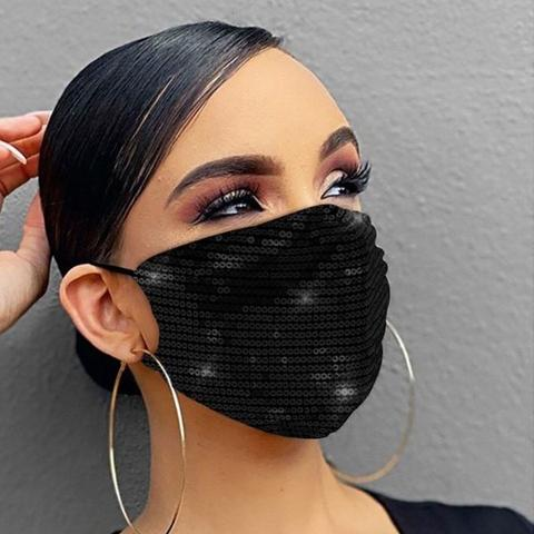 Women Fashion Sequins Breathable Washable and Reusable Mouth Mask Face Masks & PPE Black - DailySale