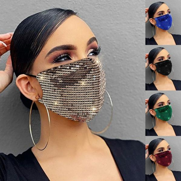 Women Fashion Sequins Breathable Washable and Reusable Mouth Mask Face Masks & PPE - DailySale