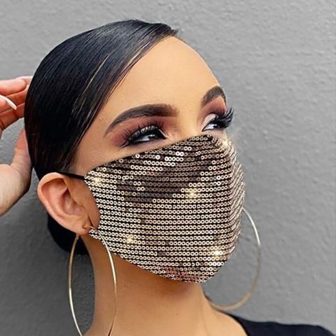 Women Fashion Sequins Breathable Washable and Reusable Mouth Mask Face Masks & PPE Gold - DailySale