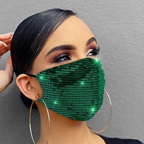 Women Fashion Sequins Breathable Washable and Reusable Mouth Mask Face Masks & PPE Green - DailySale