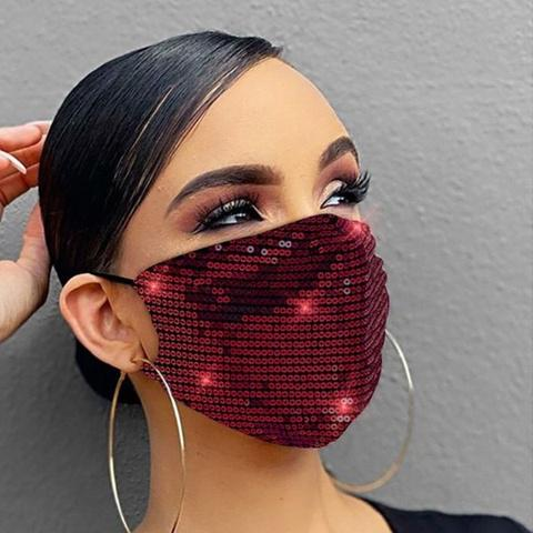 Women Fashion Sequins Breathable Washable and Reusable Mouth Mask Face Masks & PPE Red - DailySale