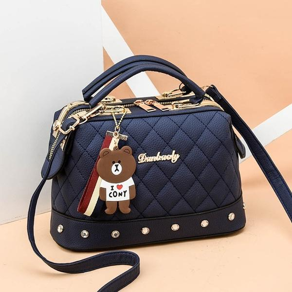 Women Leather Handbags Bag Women's Accessories Navy Blue - DailySale
