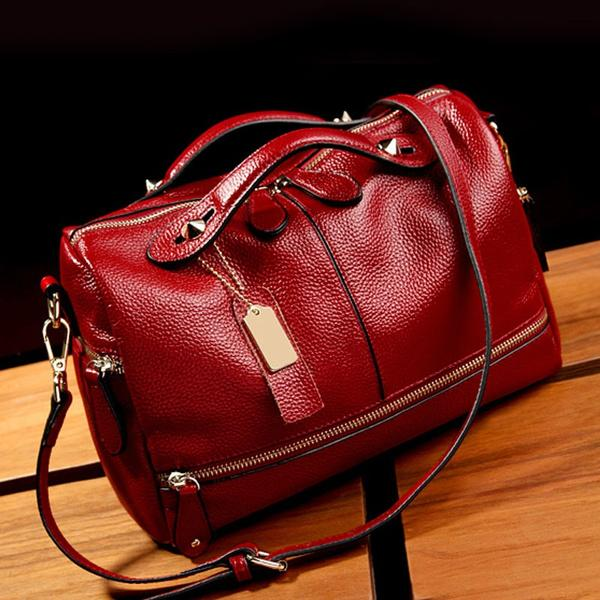 Women PU Leather Tote Handbag Pillow Shoulder Crossbody Satchel Bag Bags & Travel Red - DailySale