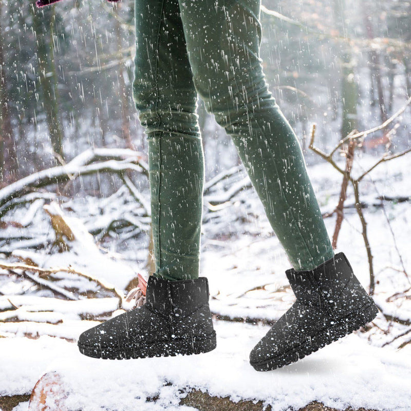 Women Suede Mid-Calf Snow Boot with Anti-slip Rubber Base