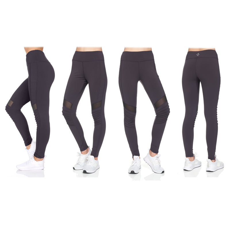 Women's 2-Pack Women's High Waist Active Full Length Leggings with Motto Women's Clothing - DailySale