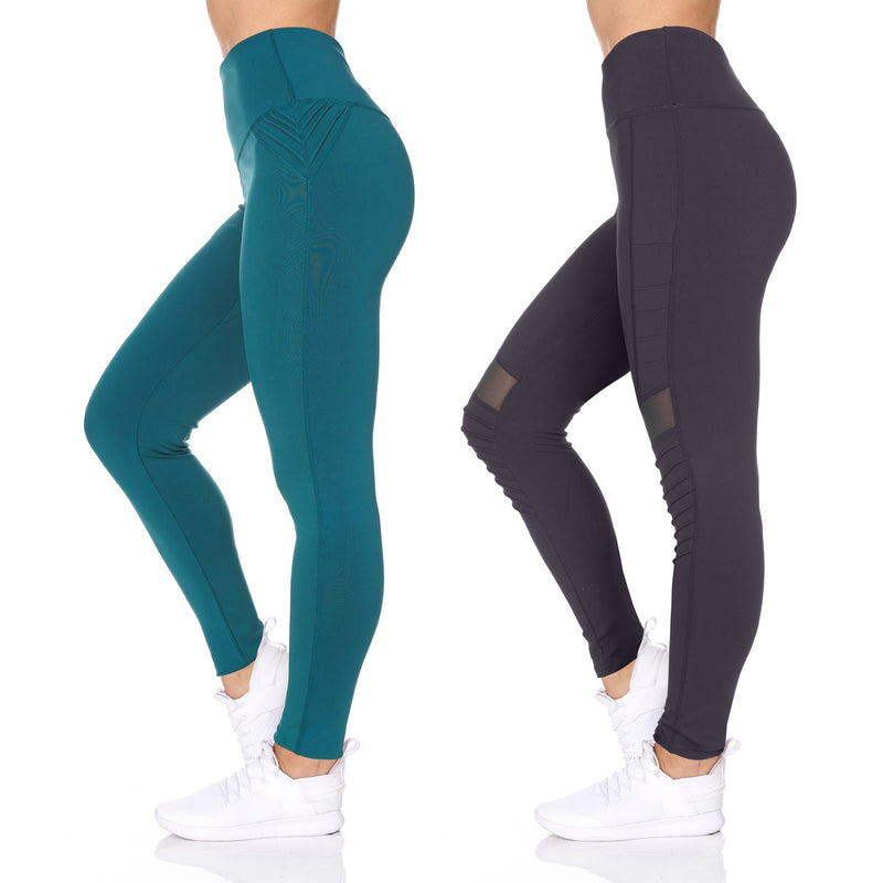 Women's 2-Pack Women's High Waist Active Full Length Leggings with Motto Women's Clothing S - DailySale