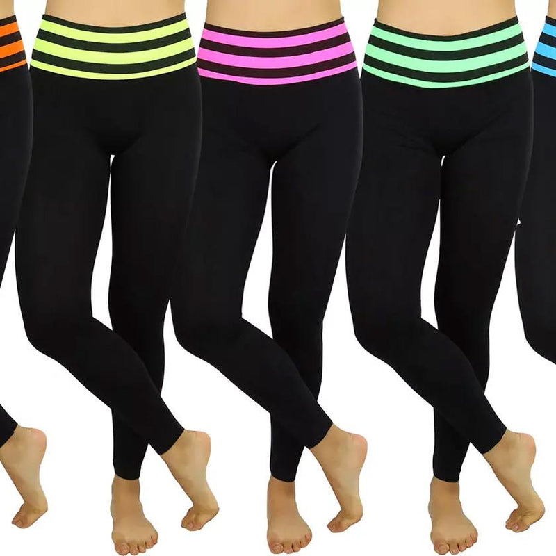 Women's Active Seamless Leggings with High Striped Waistband Women's Clothing - DailySale