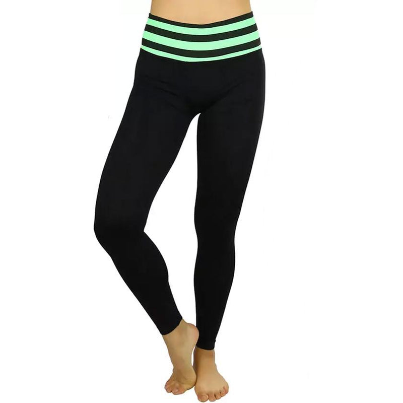 Women's Active Seamless Leggings with High Striped Waistband Women's Clothing Green - DailySale