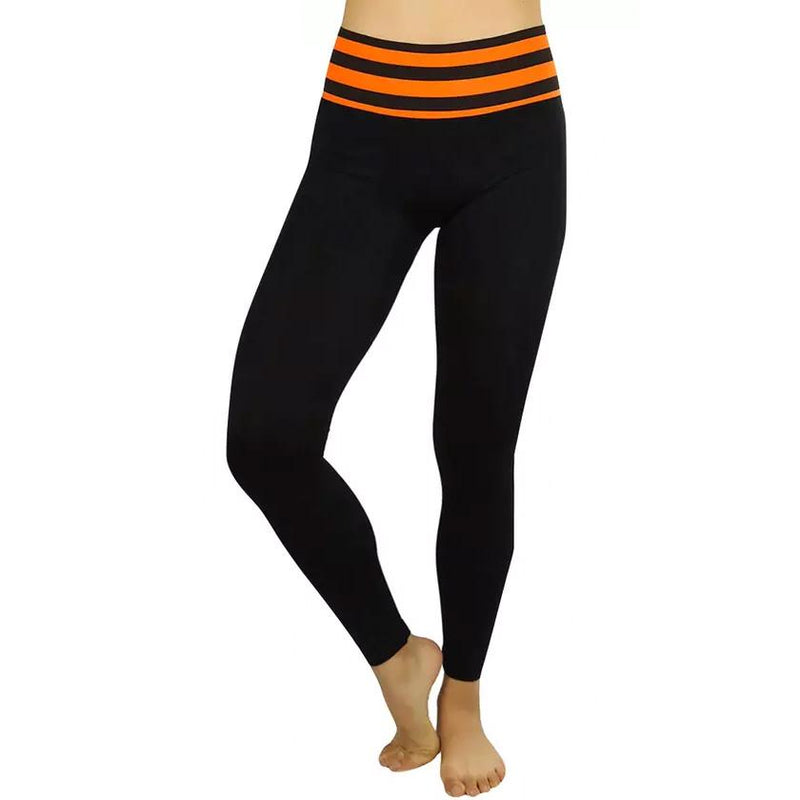 Women's Active Seamless Leggings with High Striped Waistband Women's Clothing Orange - DailySale