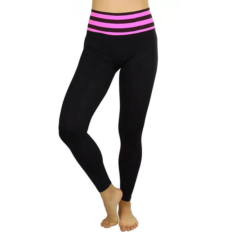 Women's Active Seamless Leggings with High Striped Waistband Women's Clothing Pink - DailySale