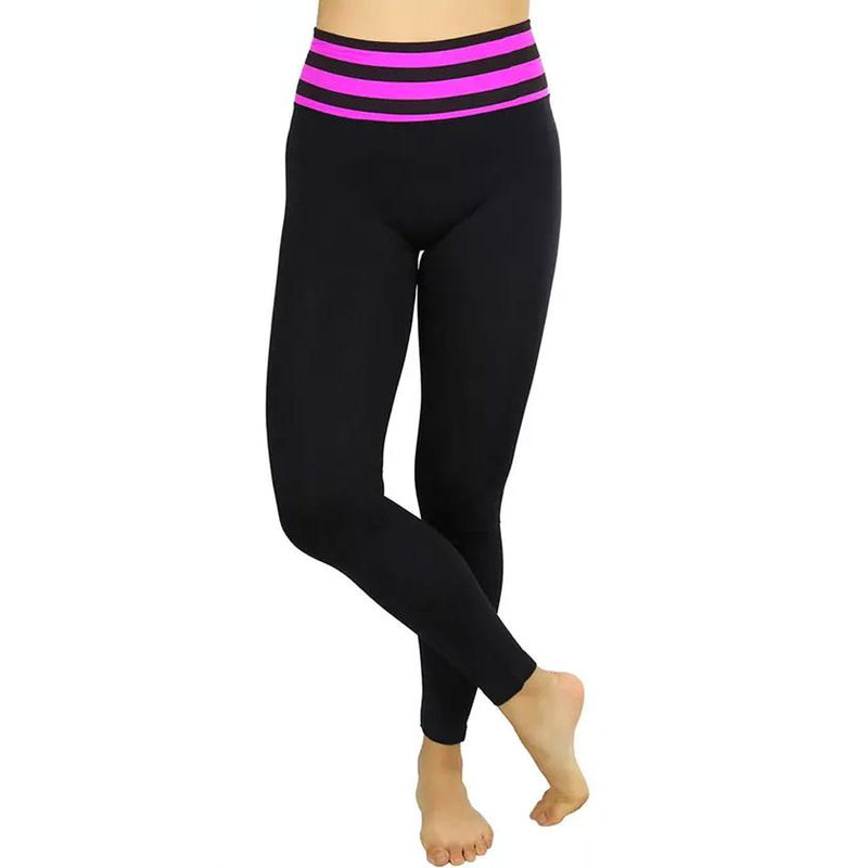 Women's Active Seamless Leggings with High Striped Waistband Women's Clothing Purple - DailySale