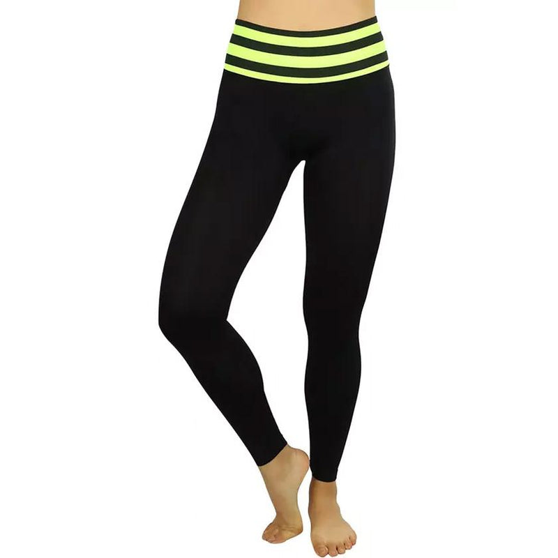 Women's Active Seamless Leggings with High Striped Waistband Women's Clothing Yellow - DailySale