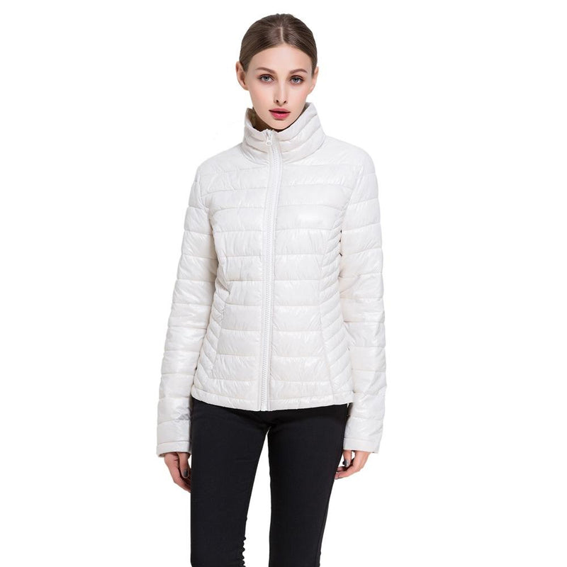 Women's Goose Down Lightweight Puffer Jacket Women's Apparel M Vanilla - DailySale