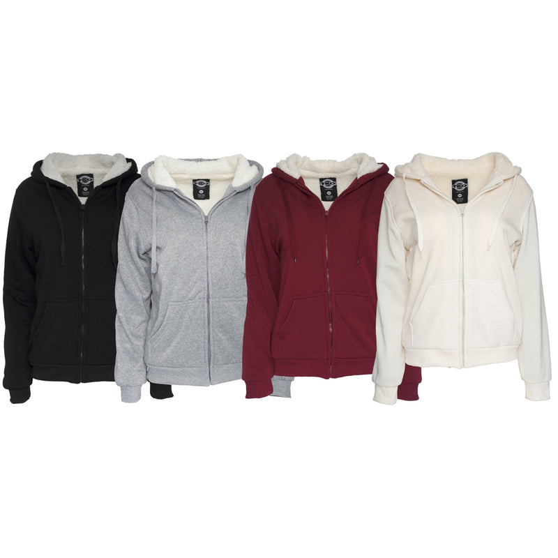 Women's Inner and Outer Sherpa Hoodie Sweatshirt Jacket Women's Clothing - DailySale