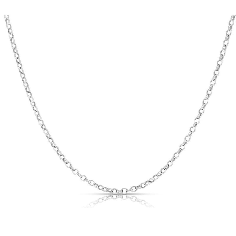 Women's Italian Rolo Link Chain in Solid Sterling Silver