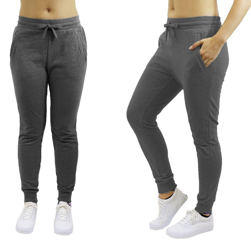 Women's Jogger Sweatpants French Terry Skinny-Fit - Assorted Colors & Pack Sizes Women's Apparel M Charcoal 2 Pack - DailySale