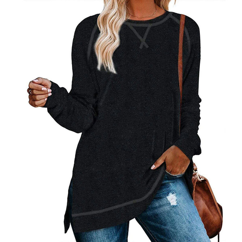 Women's Long Sleeve Loose Casual Autumn Pullover Side Slit Tunic Top Women's Clothing Black S - DailySale