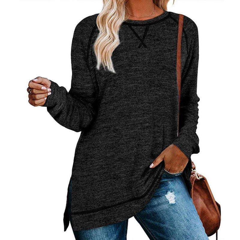 Women's Long Sleeve Loose Casual Autumn Pullover Side Slit Tunic Top Women's Clothing Black/Gray S - DailySale