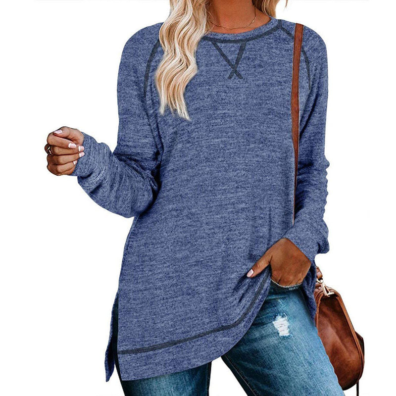 Women's Long Sleeve Loose Casual Autumn Pullover Side Slit Tunic Top Women's Clothing Blue S - DailySale