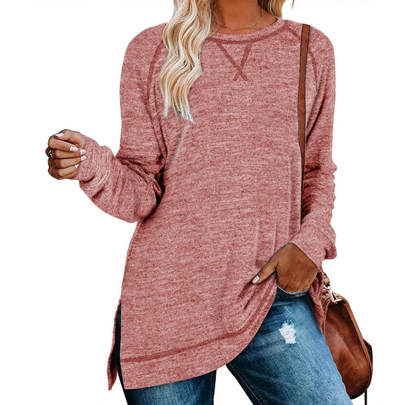 Women's Long Sleeve Loose Casual Autumn Pullover Side Slit Tunic Top Women's Clothing Coral S - DailySale
