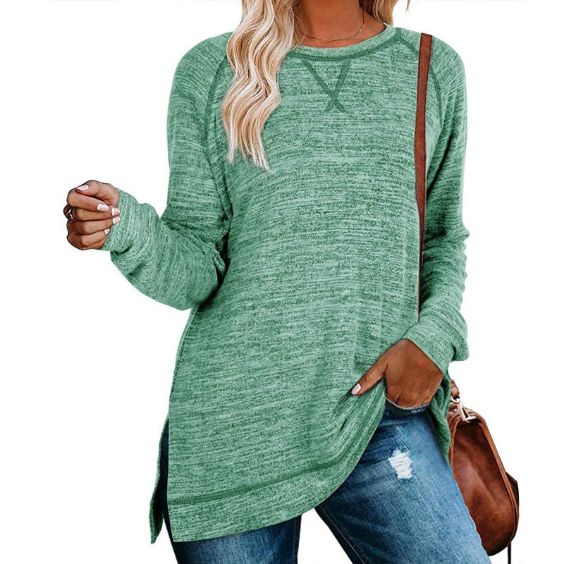 Women's Long Sleeve Loose Casual Autumn Pullover Side Slit Tunic Top Women's Clothing Green S - DailySale