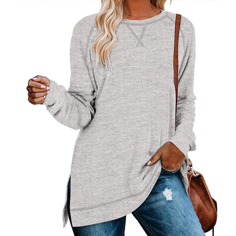 Women's Long Sleeve Loose Casual Autumn Pullover Side Slit Tunic Top Women's Clothing Light Gray S - DailySale