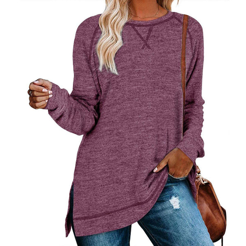 Women's Long Sleeve Loose Casual Autumn Pullover Side Slit Tunic Top Women's Clothing Purple S - DailySale