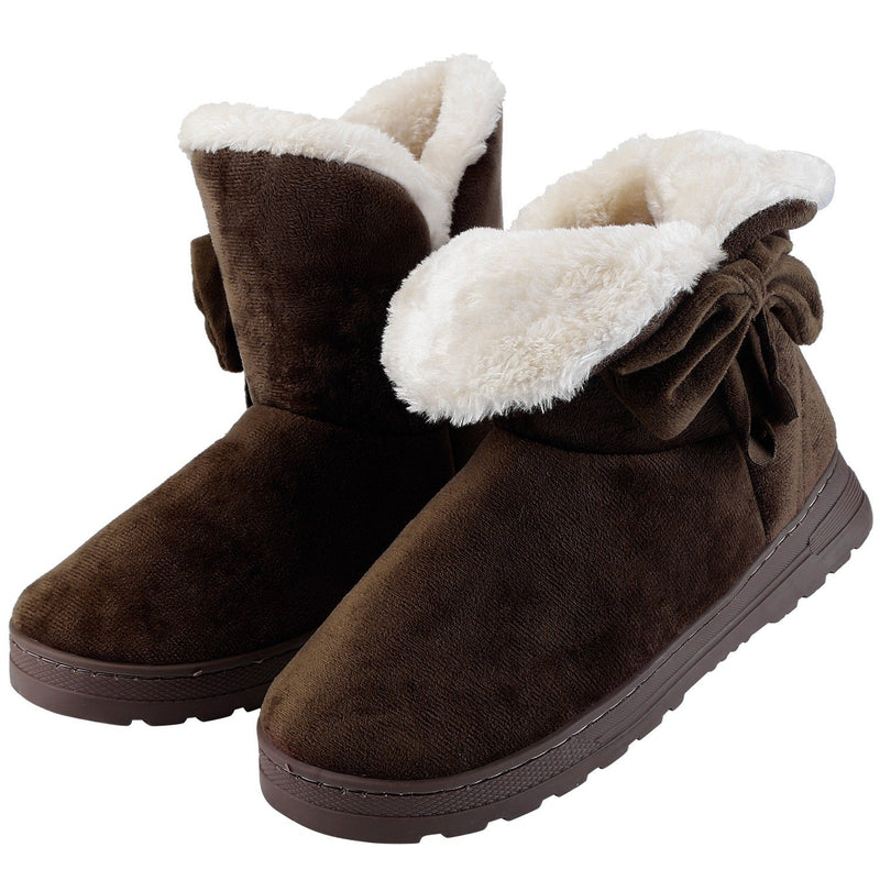 Womens Mid-Calf Winter Shoes with Anti Slip Rubber Base Bowknot