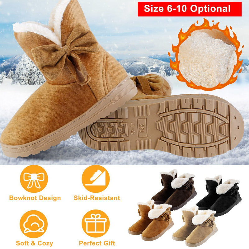 Womens Mid-Calf Winter Shoes with Anti Slip Rubber Base Bowknot Women's Clothing - DailySale