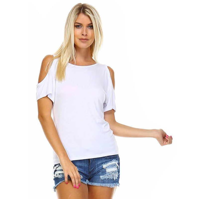Women's Open-Shoulder Short Sleeve Top - Assorted Color and Sizes Women's Apparel S White - DailySale