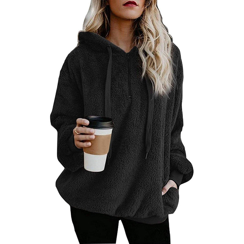Women's Oversized Fleece Hoodie Women's Clothing Black S - DailySale
